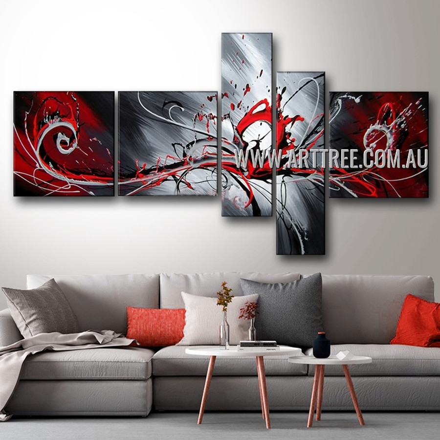 Colorful Splash Abstract Modern 5 Piece Multi Panel Canvas Oil Painting Wall Art Set For Room Trimming