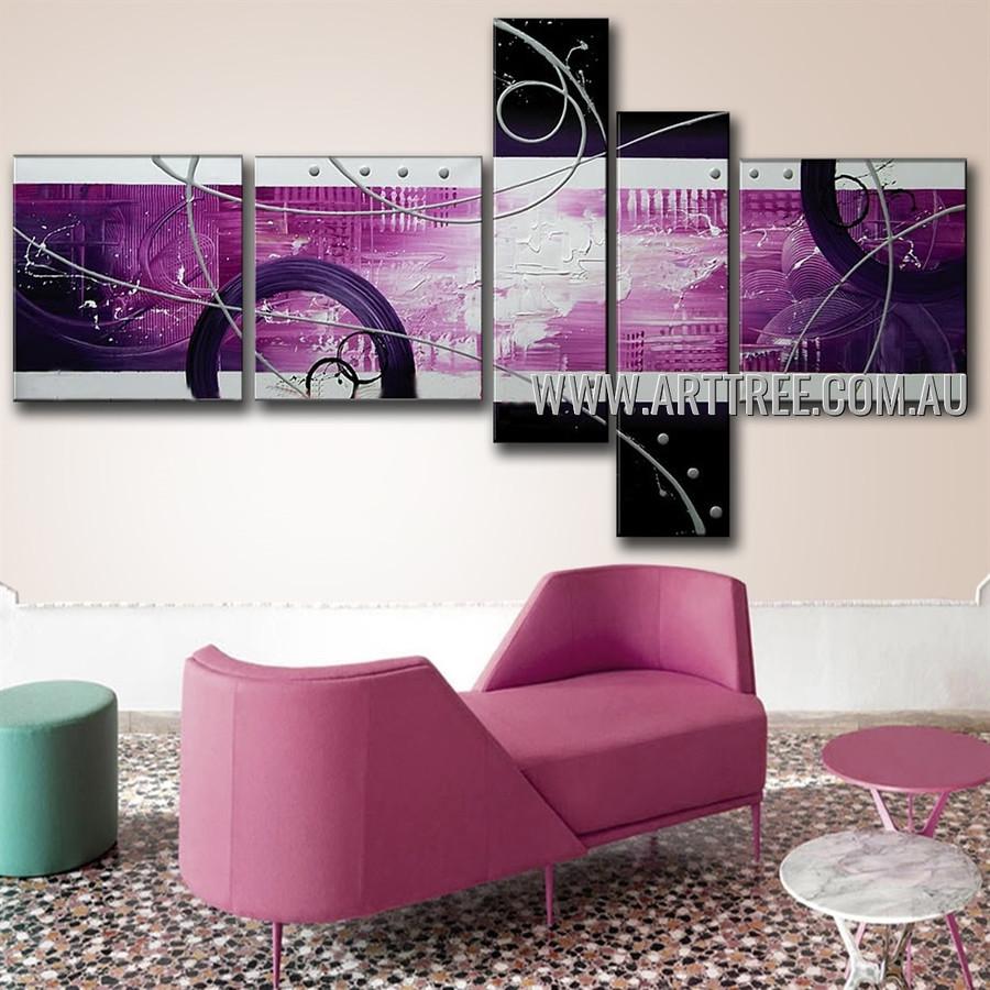 Purple Semicircle Abstract Modern Handmade Artist 5 Piece Multi Panel Wall Art Paintings Set For Room Equipment