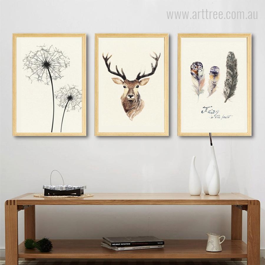 Abstract Deer Animal Dandelion Feathers