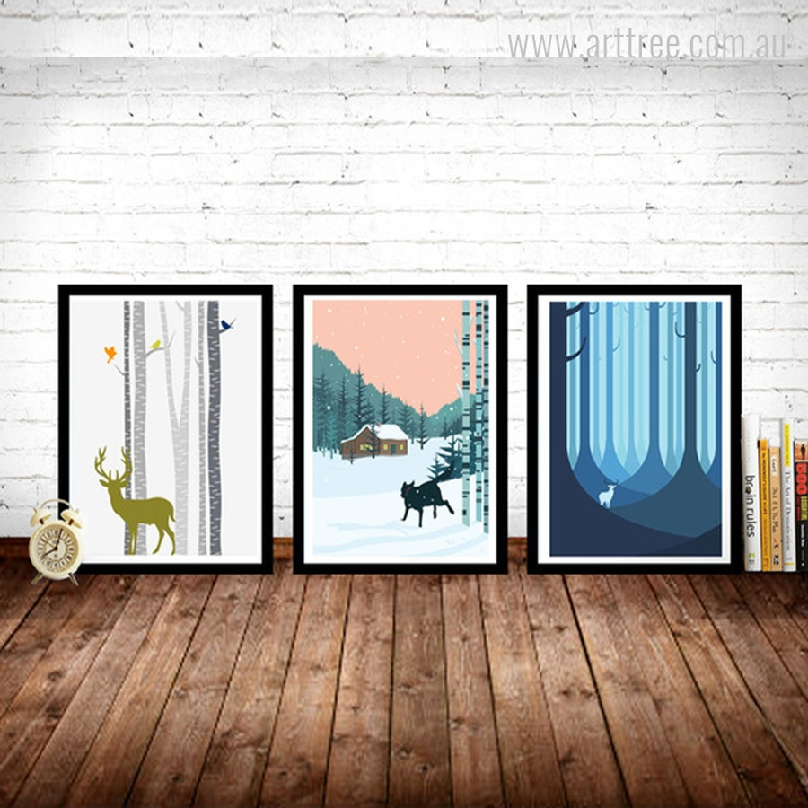 Birch Trees Deer Animal, Blue Forest and Running Dog in Snowfall