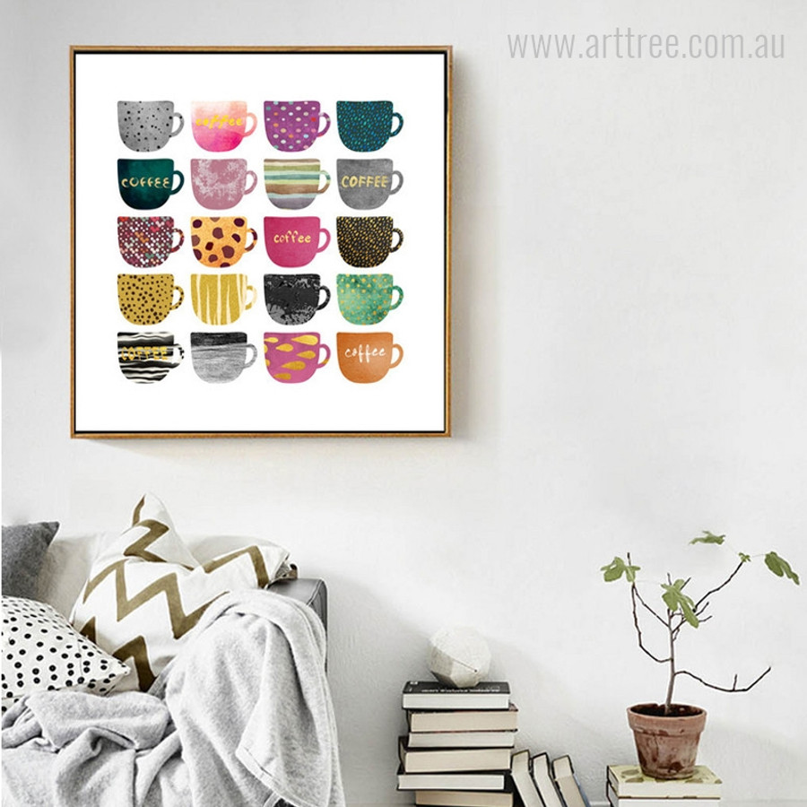 Abstract Multi-Color Coffee Cups for Study Room