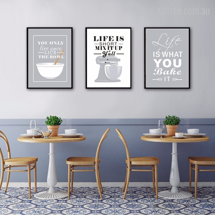 Grey Baking Life Quotes Wall Art Decor
