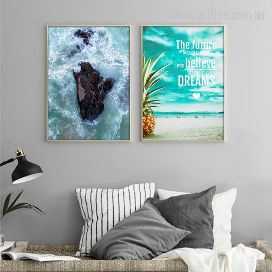 Ocean Waves, Future Belongs to those who believe of their Dreams Quote