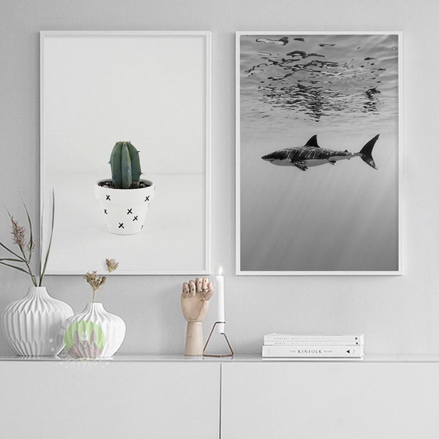Under Water Shark Sea Creature, Cactus Plant Canvas Print