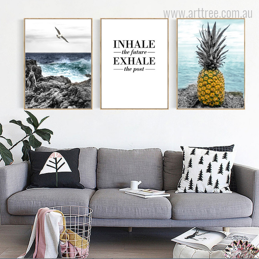 Seascape Gull Bird, Pineapple, Inhale the Future Exhale the Past Quote