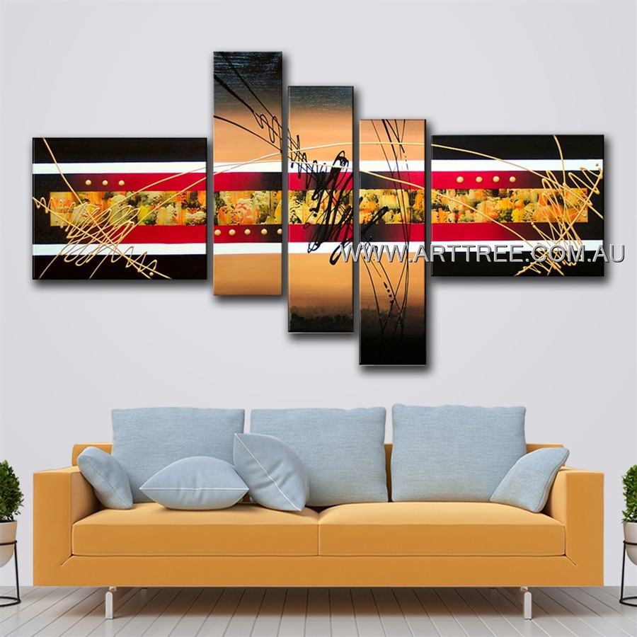 Red & White Striped Abstract Modern 5 Piece Multi Panel Canvas Oil Painting Wall Art Set For Room Getup