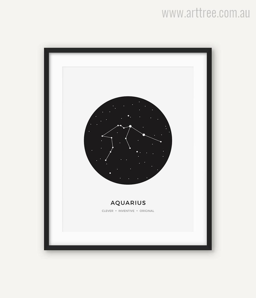 Aquarius Zodiacal Constellation Clever Inventive Original Print