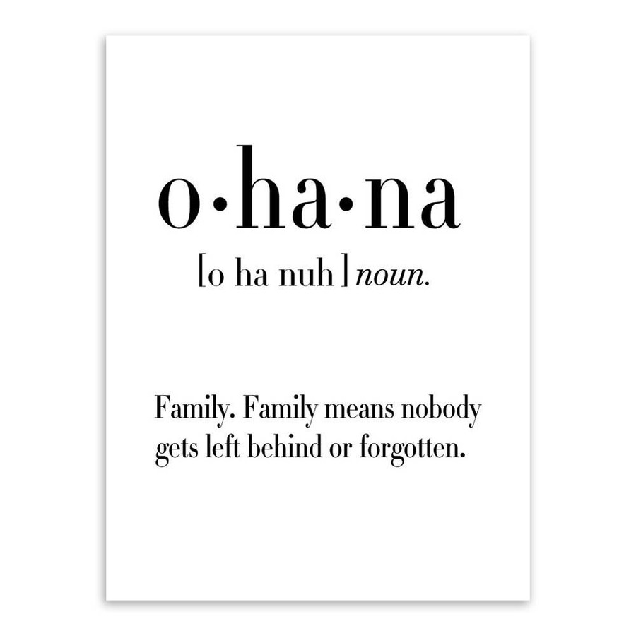 Ohana Definition Family Quote Black and White Canvas Print
