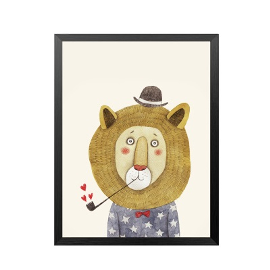 Love Cigar Pipe Lion Animal Nordic Art