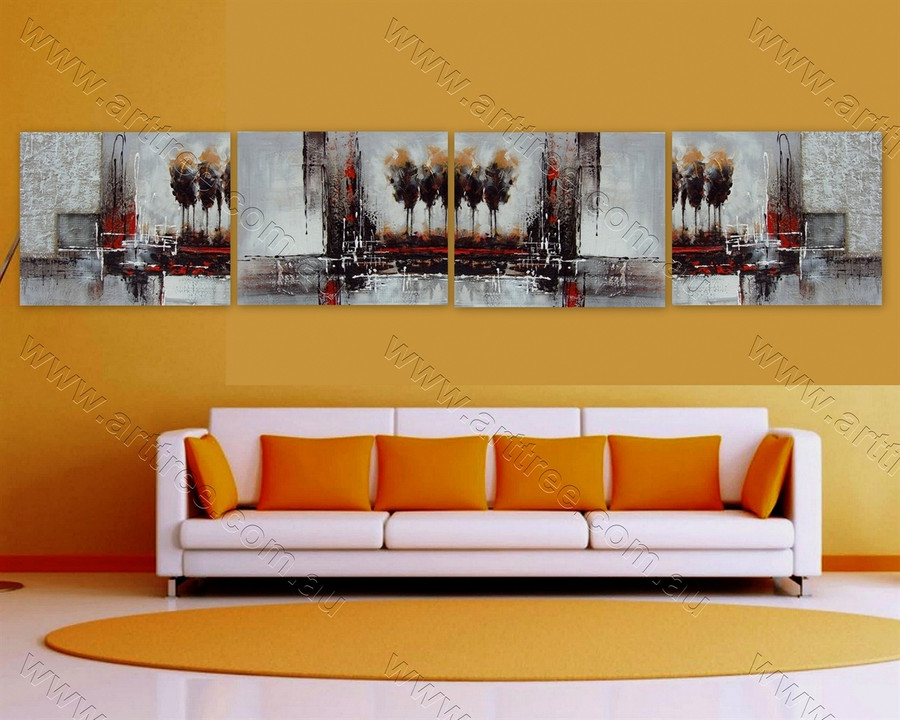 Abstract Tree Pattern Multi Panel Painting