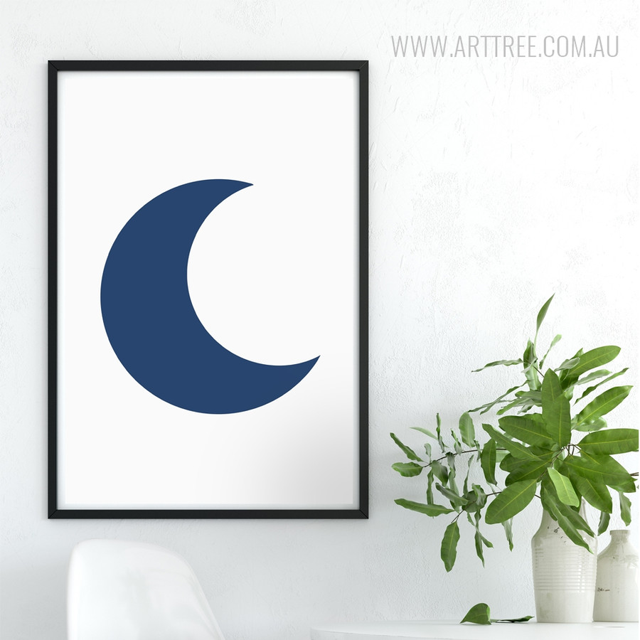 Blue Half Moon Canvas Wall Art