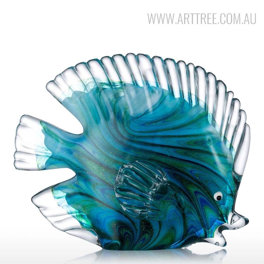 Blue Tropical Fish Glass Miniature Pisces Sculpture