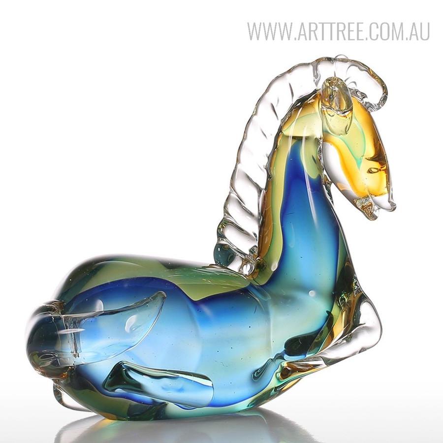 Blue Horse Glass Sculpture Art Animal Miniature