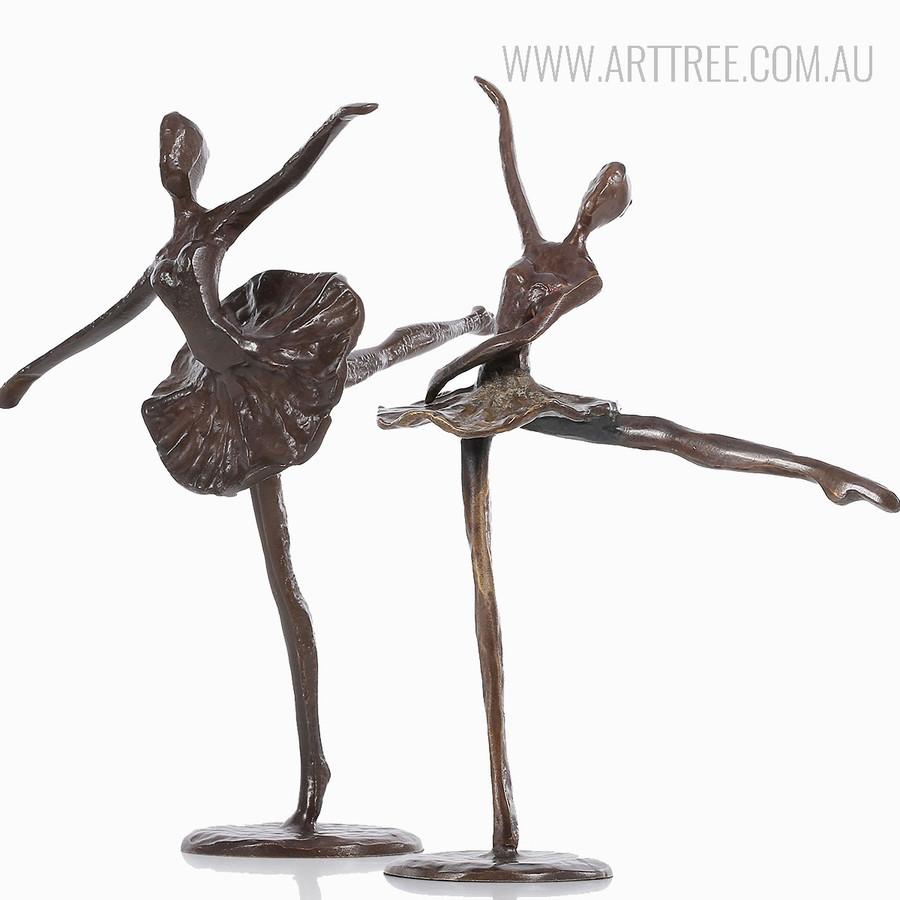 Ballet Dancing Girl Bronze Sculpture Set Brown Miniatures