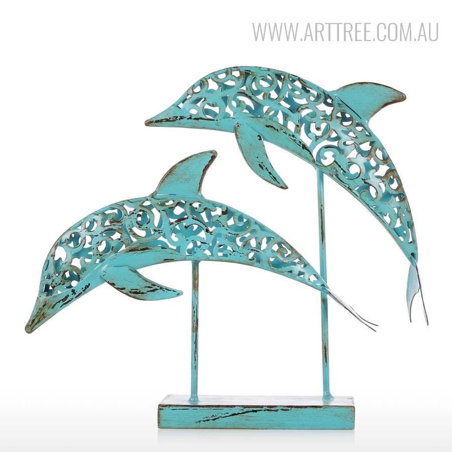 Blue Dolphin Set Iron Metal Sculpture