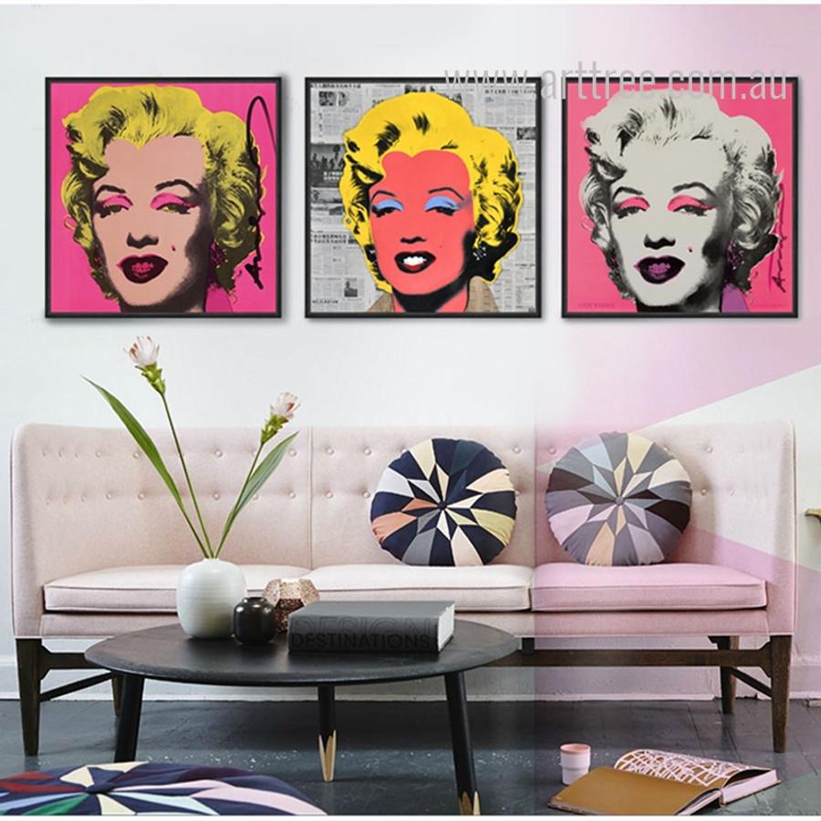 Andy Warhol Marilyn Monroe Design 3 Piece Wall Art