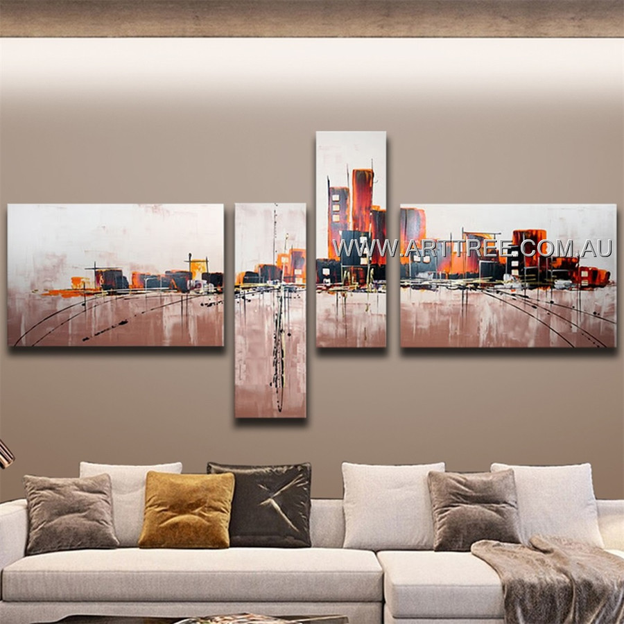 Beautiful City Pattern Abstract Handmade 4 Piece Split Wall Painting For Room Drape