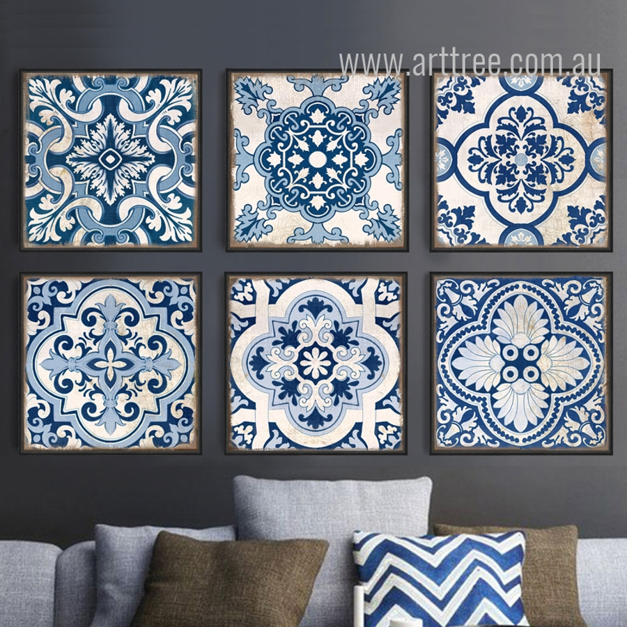 Chinese Style Blue and White Porcelain Moroccan Pattern Digital Art