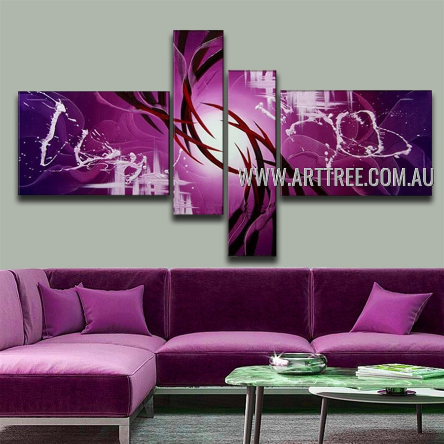 Brown Streaks With Purple Base Abstract Handmade 4 Piece Split Oil Painting For Drape