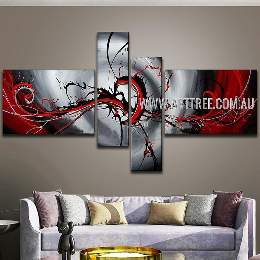 Black & Red Streaks Abstract Handmade 4 Piece Multi Panel Wall Painting For Room Outfit