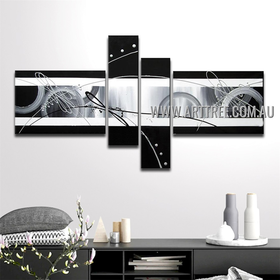 Geometric Circles Abstract Handmade 4 Piece Split Panel Painting For Room Finery