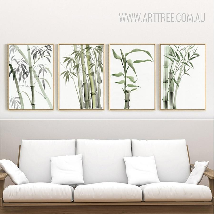 Long Green Bamboo Plant Wall Art Set