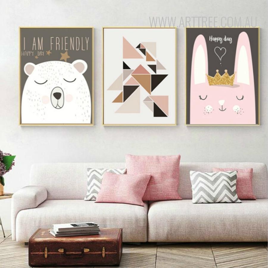 Friendly Cartoon Bear Happy Life Rabbit 3 Piece Canvas Prints