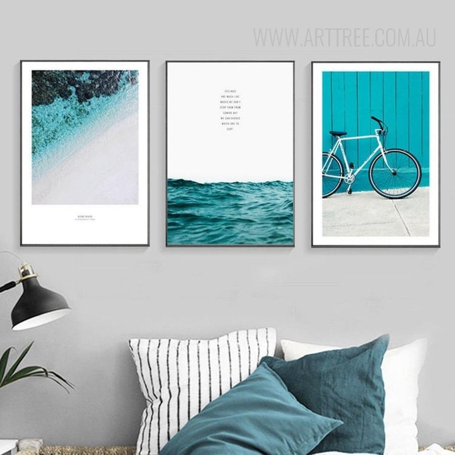 Blue Seascape Cycle on Beach Canvas Prints