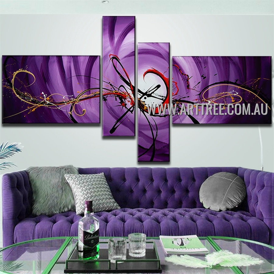 Purple Base Red Streaks Abstract Handmade 4 Piece Split Oil Paintings Set For Room Outfit