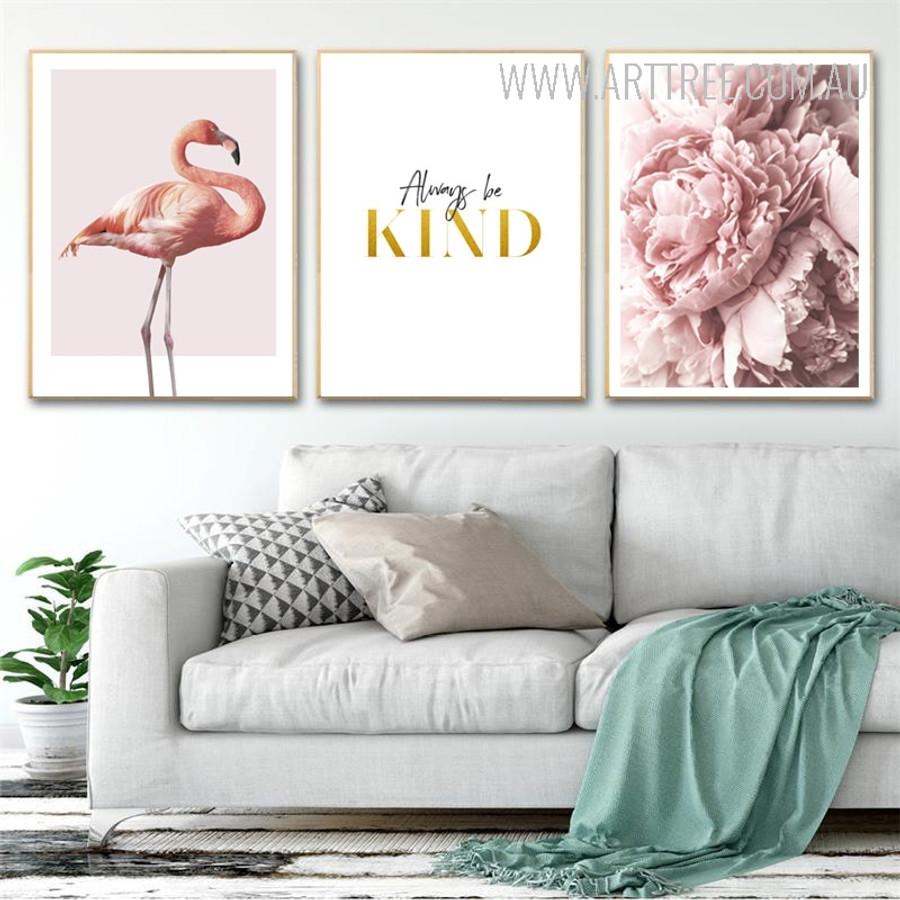 Modern Pink Flamingo Always Be Kind Peony Flowers Canvas Prints