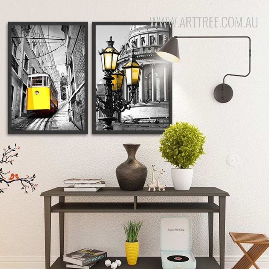 Yellow Tram Saint Isaac's Cathedral Vintage Poster Prints