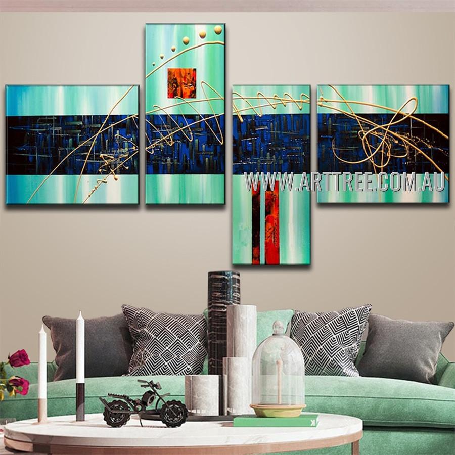 Blue Heavy Textured Abstract Handmade 4 Piece Split Oil Paintings For Room Décor