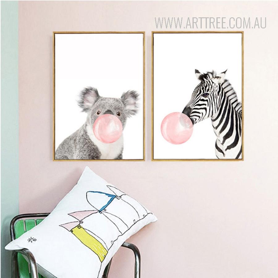 Lovely Koala Pes Zebra Animals Blowing Bubbles 2 Piece Canvas Prints