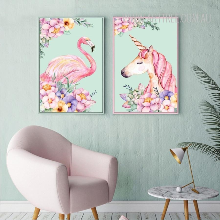 Lovely Pink Flamingo Bird Unicorn Animal Flowers Design Canvas Wall Art