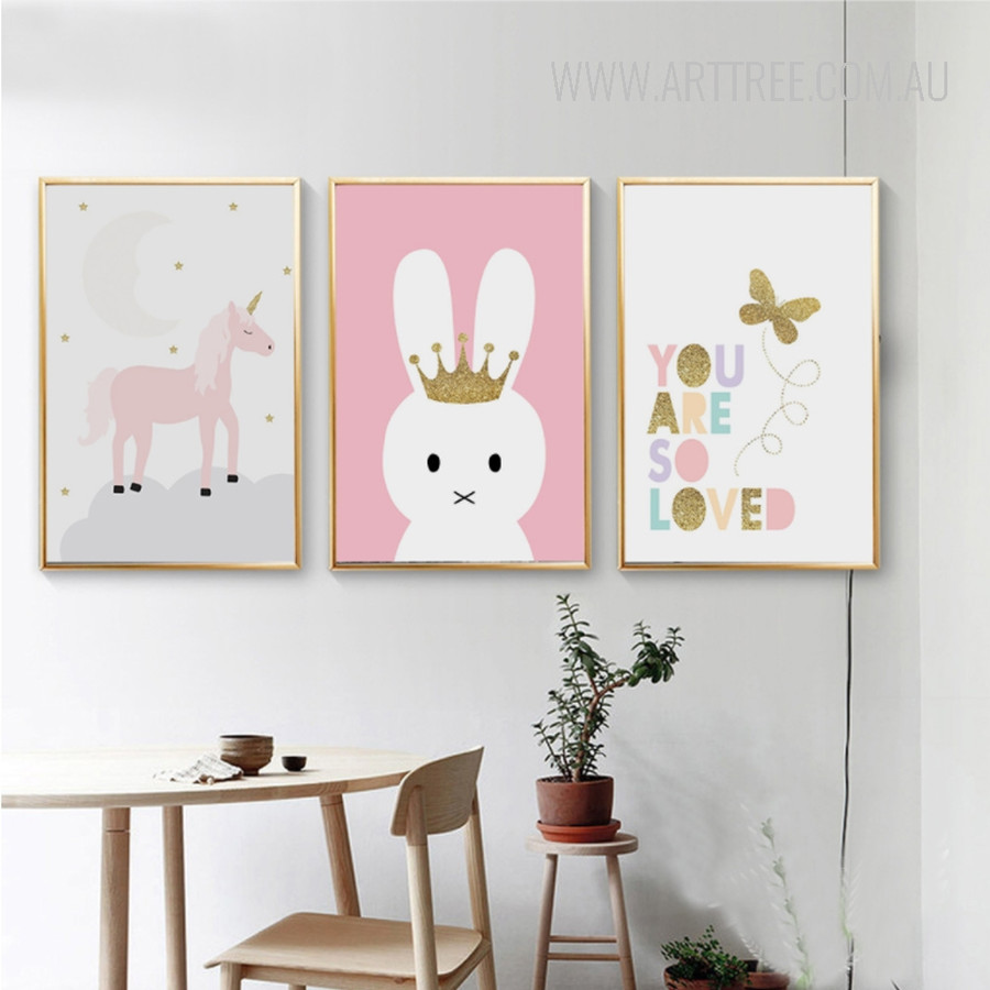Unicorn Rabbit Butterfly You Are So Loved Nursery Wall Art Prints
