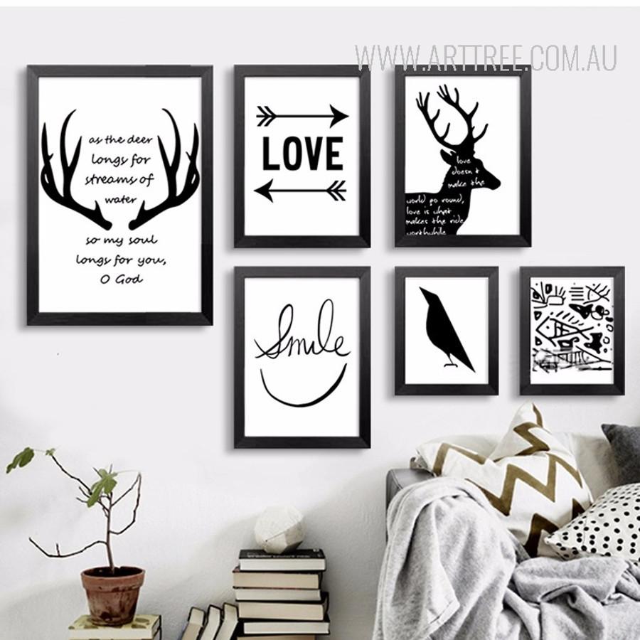 Black and White Love Arrows Smile Crow Deer Antlers Canvas Prints