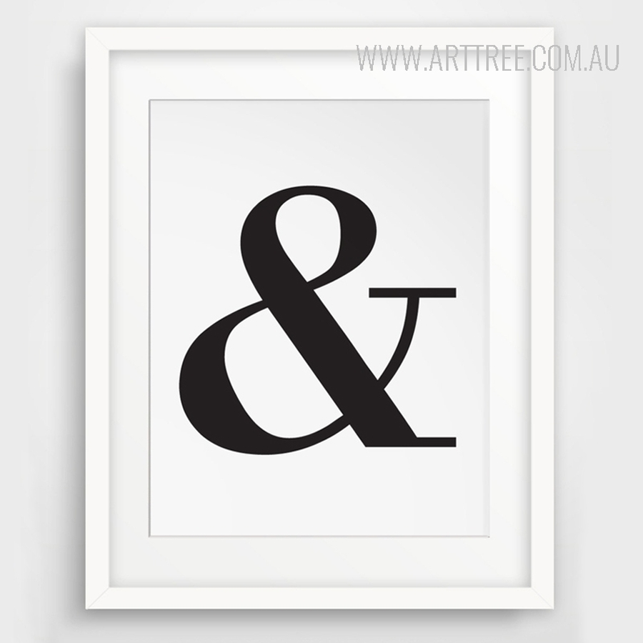 Ampersand And Letter Symbol Black and White Typography Art