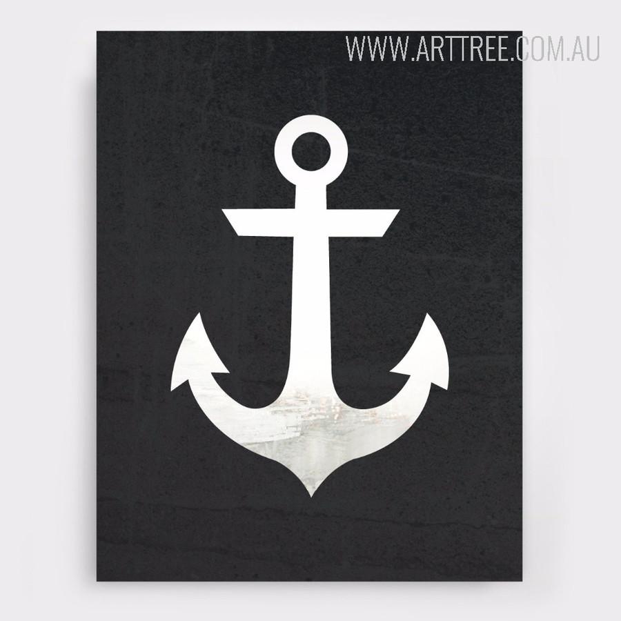 Black and White Anchor Design Minimalist Art