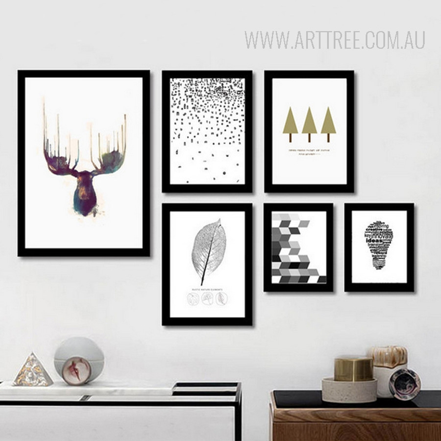 Abstract Deer Leaf Idea Bulb Tree Large Canvas Prints