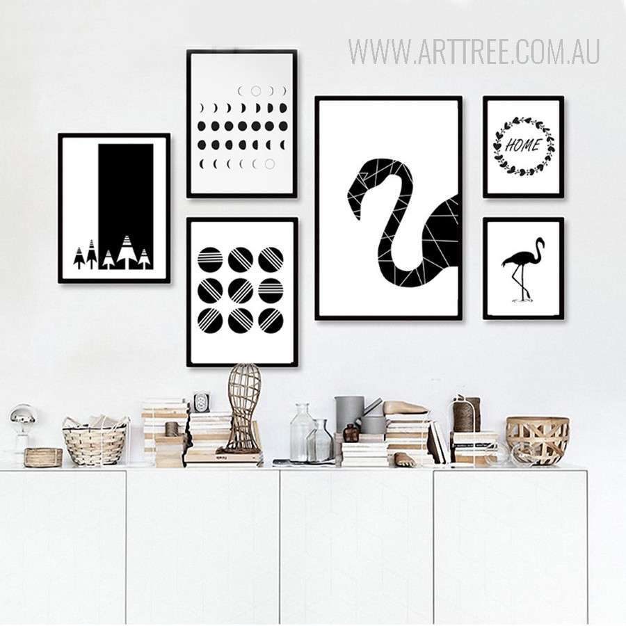 Abstract Minimalist Flamingo Balls Home Black and White Canvas Prints