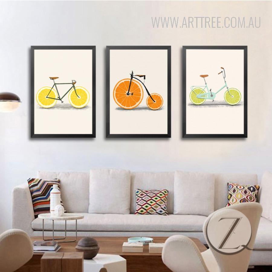 Creatively Lemon Orange Fruit Bike Digital Canvas Art