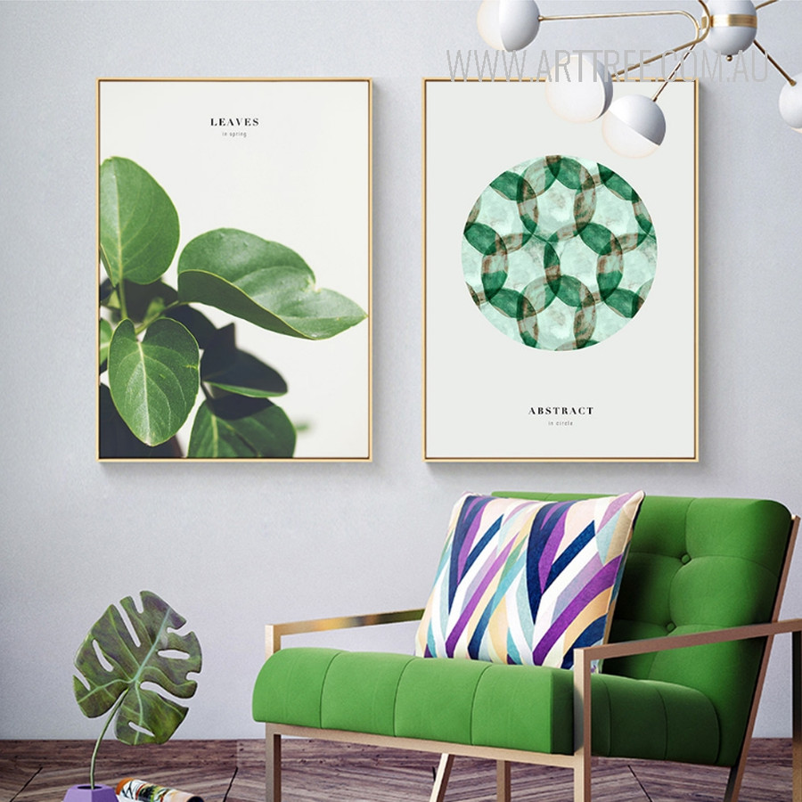 Abstract Green Watercolor Leaves, Make A Dream Design Wall Hanging Prints