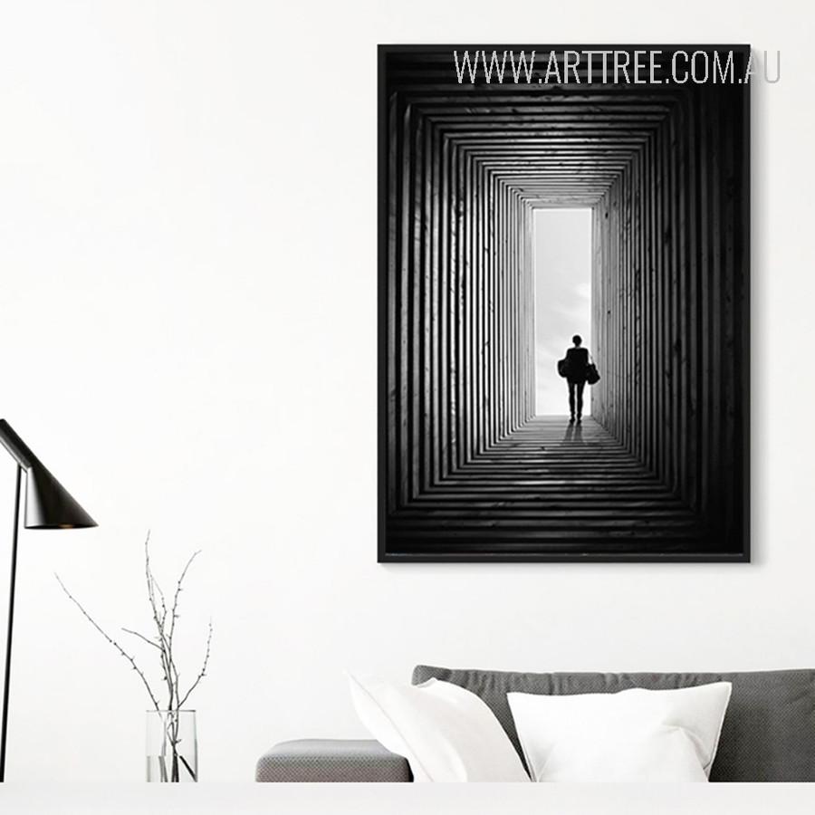 Black and White Walking Man Digital Painting Print