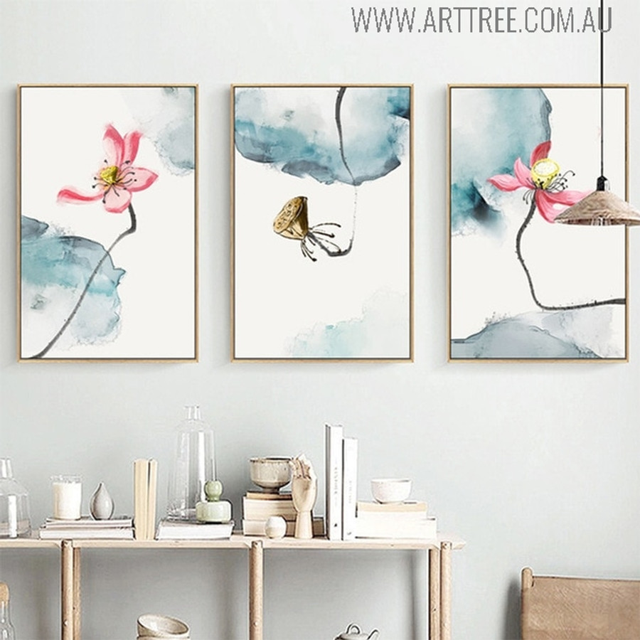 Chinese Lotus Floral Watercolor Wall Decor