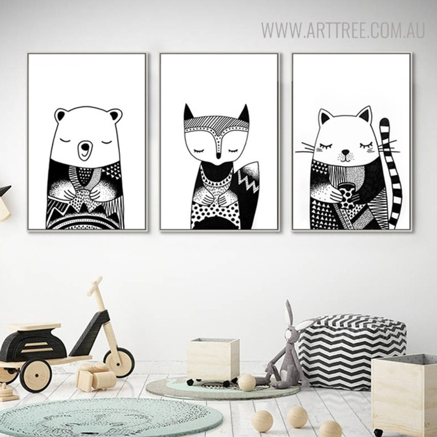 Sleeping Animals Animated Painting Print for Kids Wall Decor