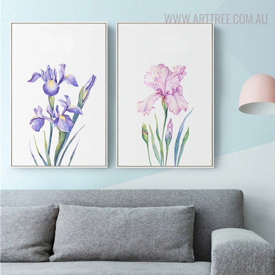 Hued Iris Floral Painting Print for Living Room Decor