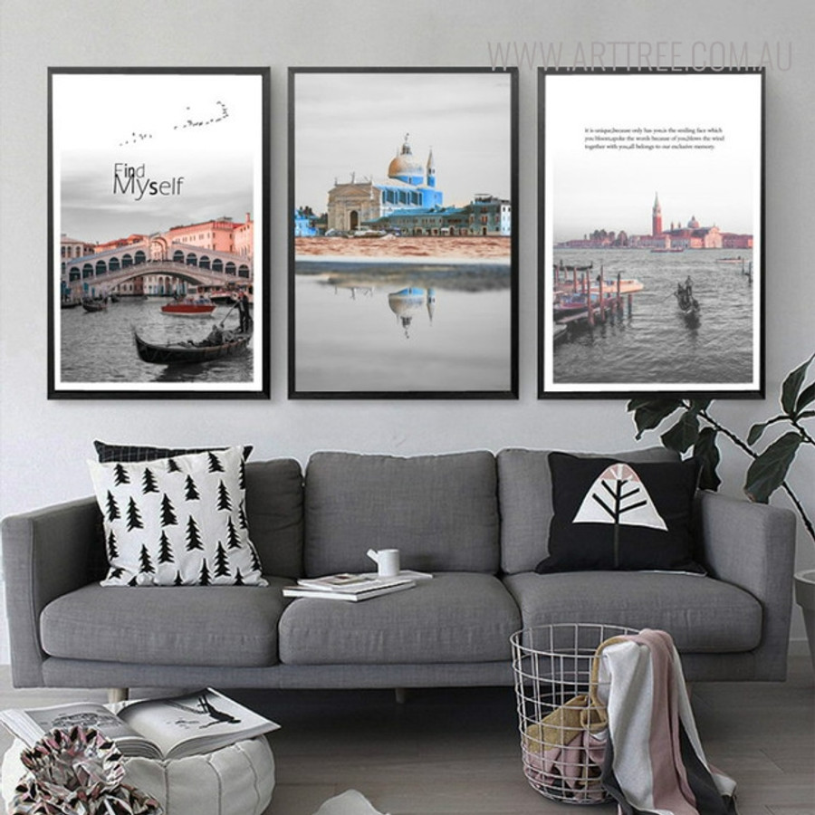 Find Myself Cityscape Picture Quotes Painting Print for Wall Decoration