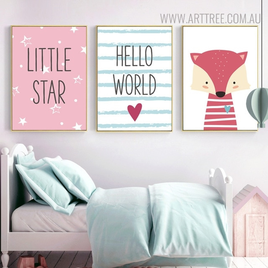 Hello World Animated Modern Quotes Painting Print for Kids Room Decor