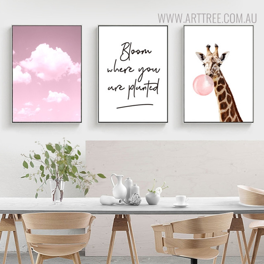 Bubble Giraffe Animal Quotes Painting Print for Dining Room Decor