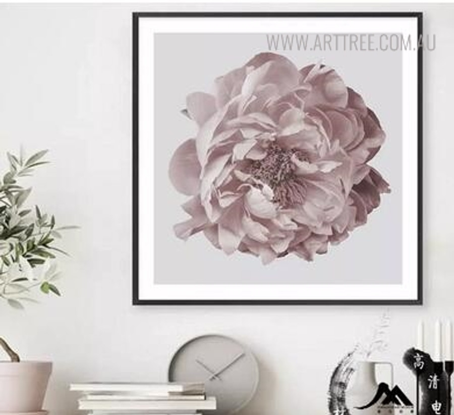 Pink Peony Modern Floral Painting Print for Study Room Decoration